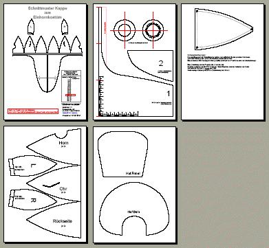 Einhornkostüm basteln, mit Schnittmuster